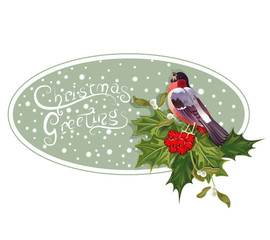 vintage Christmas background with holly and bullfinch