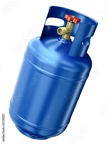 Blue gas container isolated on white background