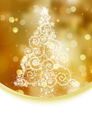 Christmas tree illustration on gold bokeh. EPS 8