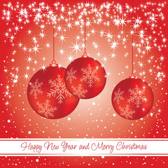 New year and Christmas card with decorations