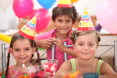portrait of children at birthday party