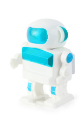 funny toy clockwork wihite-blue anthropomorphic robot on white