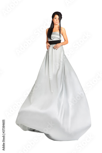 beautiful smart girl wearing long silver dress isolated