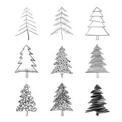 Christmas tree silhouette, set of illustrations. Vector, EPS8.