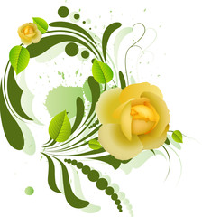 Beautiful Yellow Roses on Green Swirl Element