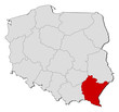 Map of Poland, Podkarpackie highlighted