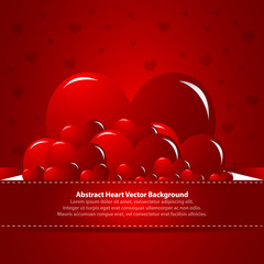 Beautiful hearts on red background