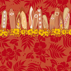 Surfboards seamless vector pattern