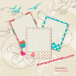 Retro scrap template sky background and photo frames