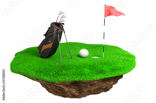 3d golf field on green grass island