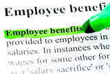 Employee benefits definition highlighted in green poster