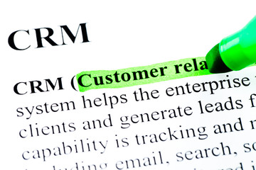 CRM definition highlighted in green