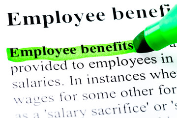 Employee benefits definition highlighted in green