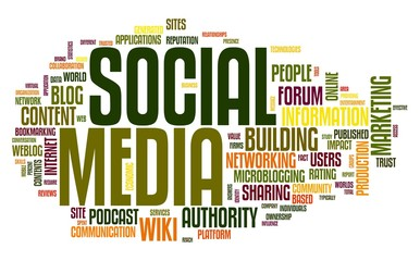 Social media in word tag cloud on white