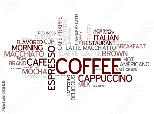 Sticker Coffee concept in word tag cloud on white background