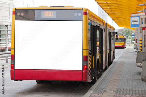 canvas print picture Blank billboard on back of bus