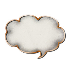 Cardboard speech bubbles on white background