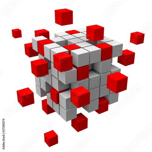 3D-Struktur aus roten und weissen Blocks