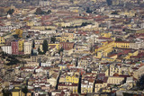 aeriel scenic view of naples city in italy poster