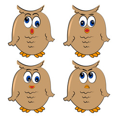 owl vector set. different emotion.isolated cute characters