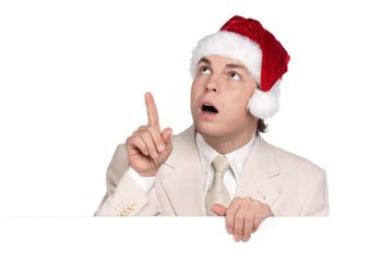 Portrait of man in santa hat