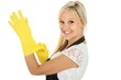 Lovely Smiling Woman in Yellow Gloves