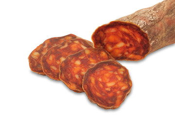 meat - italian salami isolated on white