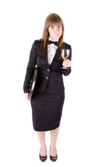 Waitress with a glass of wine (2)