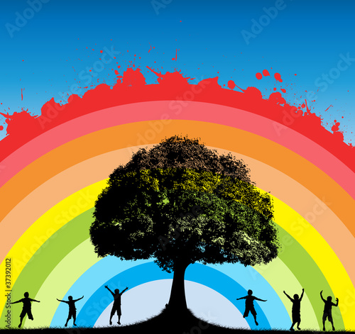 Oak Tree with Happy Kids Silhouettes on Splashy Rainbow