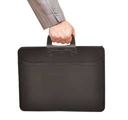 Close-up of businessman hand holding with briefcase