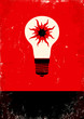 Red and black poster with bulb