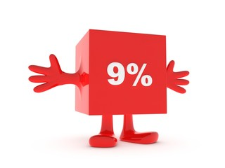 9 Percent discount happy figure