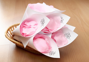 Wedding rose petals in basket