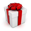 Present box with red ribbon bow