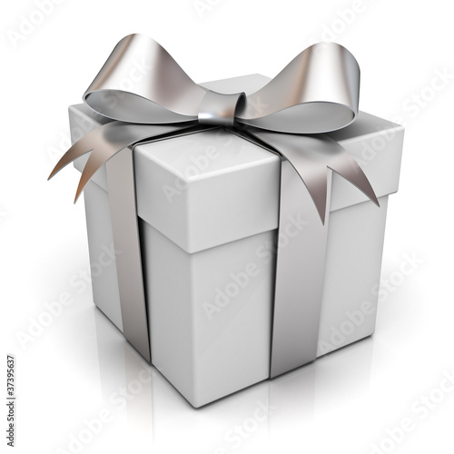 Present box with silver ribbon bow