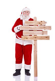 Santa Claus with wooden  sing