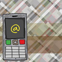 Cellphone Sketch with abstract background. Vector illustration