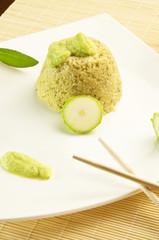 Tortino di cous cous con salsa vellutata di zucchine