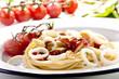 gegrillte Tintenfischringe mit Spaghetti und hausgemachter Tomat