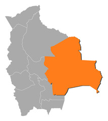 Map of Bolivia, Santa Cruz highlighted