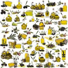 Aceite de oliva virgen y olivas de diversas variedades.