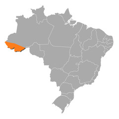 Map of Brazil, Acre highlighted