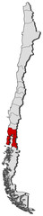 Map of Chile, Los Lagos highlighted