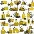 Colección de botellas de aceite de oliva sobre fondo blanco.