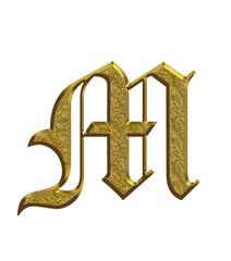 M - Alphabet en or - Lettrine