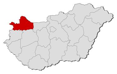 Map of Hungary, Györ-Moson-Sopron highlighted