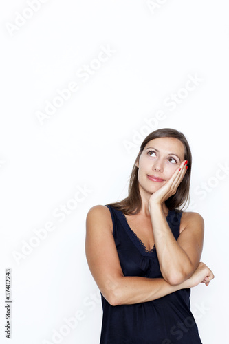 woman thinking on white background
