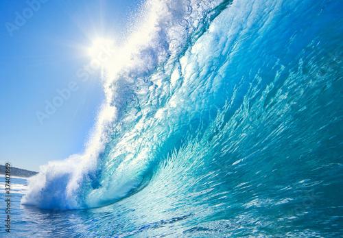 Leinwanddruck Bild Blue Ocean Wave