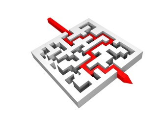 3d labyrinth with a red line crossing