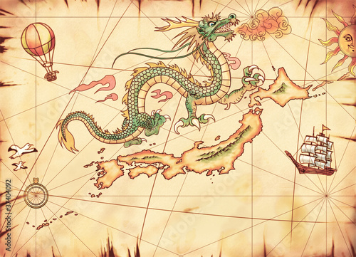 古地図 龍とジパング